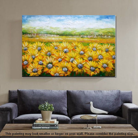 Sunflower Painting, Canvas Oil Painting, Heavy Texture Art, Bedroom Wall Art, Abstract Painting, Landscape Oil Painting, Original Art