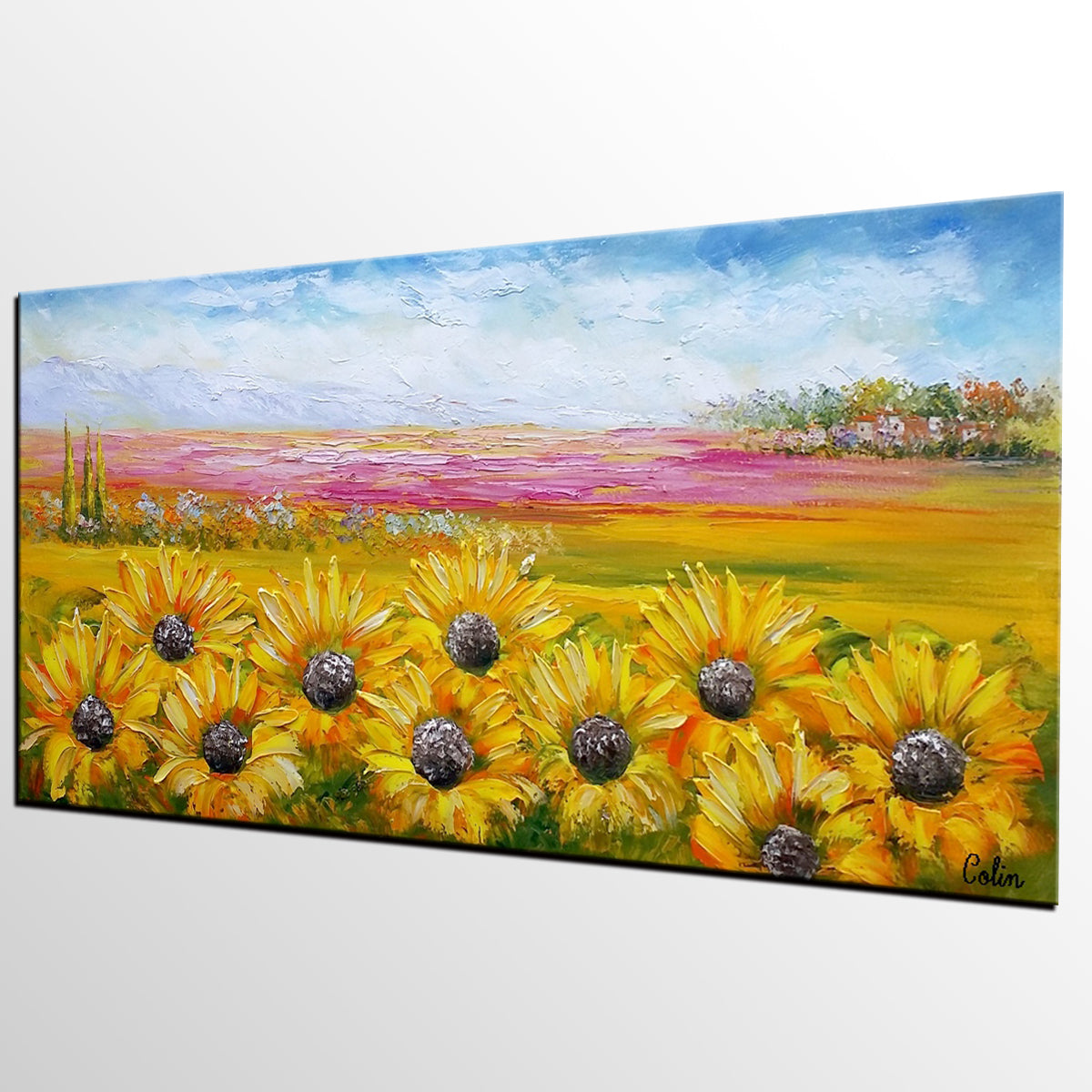 Heavy Texture Art, Canvas Oil Painting, Original Art, Large Art, Sunflower Painting, Original Wall Art, Abstract Painting, Landscape Painting