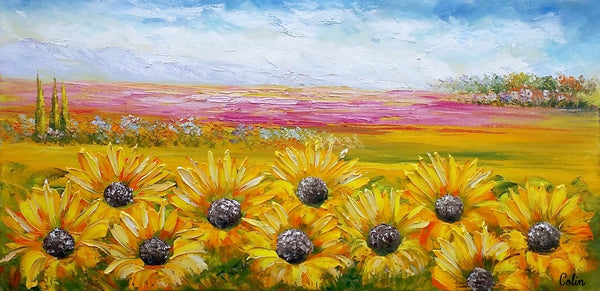 Heavy Texture Art, Canvas Oil Painting, Original Art, Large Art, Sunflower Painting, Original Wall Art, Abstract Painting, Landscape Painting - artworkcanvas