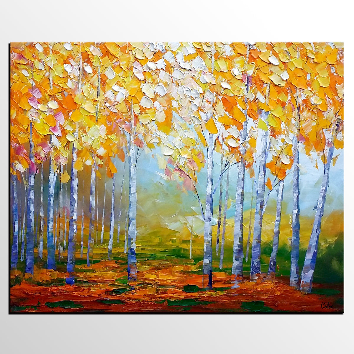 Birch Tree Painting, Abstract Landscape Art, Living Room Wall Art ...
