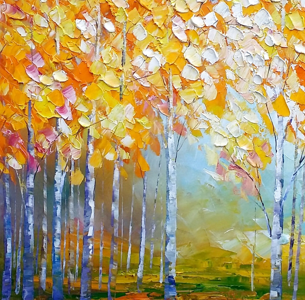 Birch Tree Painting Abstract Landscape Art Living Room Wall