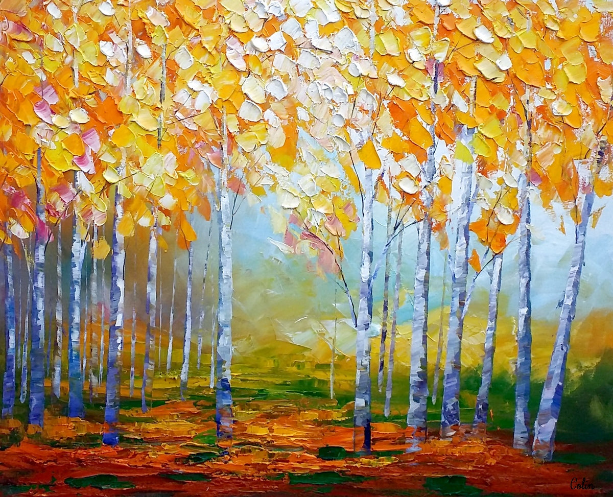 Birch Tree Painting, Abstract Landscape Art, Living Room Wall Art, Canvas Art, Abstract Art, Large Art, Abstract Painting, Original Painting