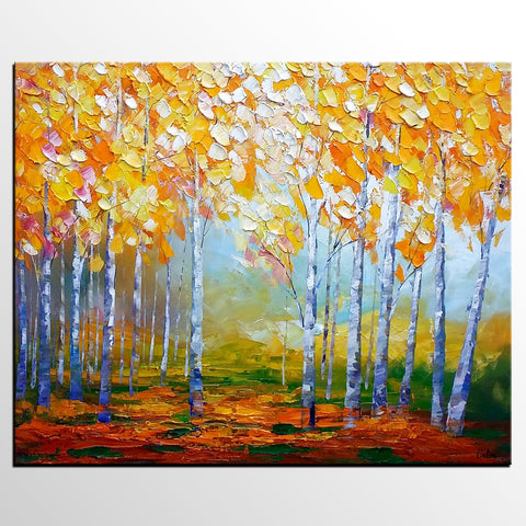 Birch Tree Painting, Abstract Landscape Art, Living Room Wall Art, Canvas Art, Abstract Art, Large Art, Abstract Painting, Original Painting - artworkcanvas