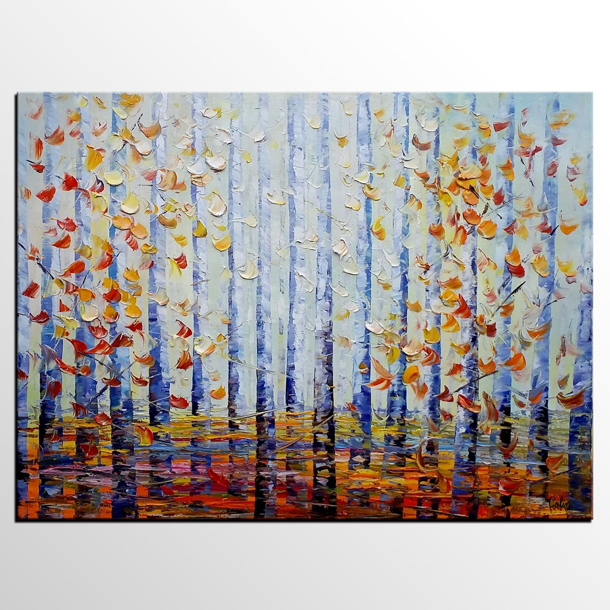 Abstract Landscape Art, Birch Tree, Wall Ar...