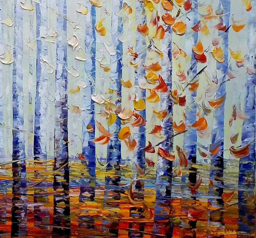 Abstract Landscape Art, Birch Tree, Wall Art, Living Room Wall Art, Canvas Wall Art, Abstract Art, Large Art, Abstract Painting, Oil Painting
