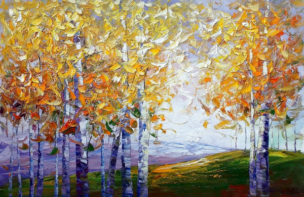Autumn Tree Painting, Large Wall Art, Heavy Texture Art, Canvas Wall Art, Abstract Art, Large Art, Abstract Painting, Original Painting - artworkcanvas