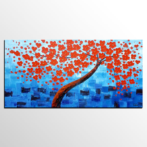 Acrylic Painting, Abstract Painting, Tree Painting, Flower Tree, Large Art, Canvas Art, Wall Art, Canvas Painting, Impasto Art - artworkcanvas