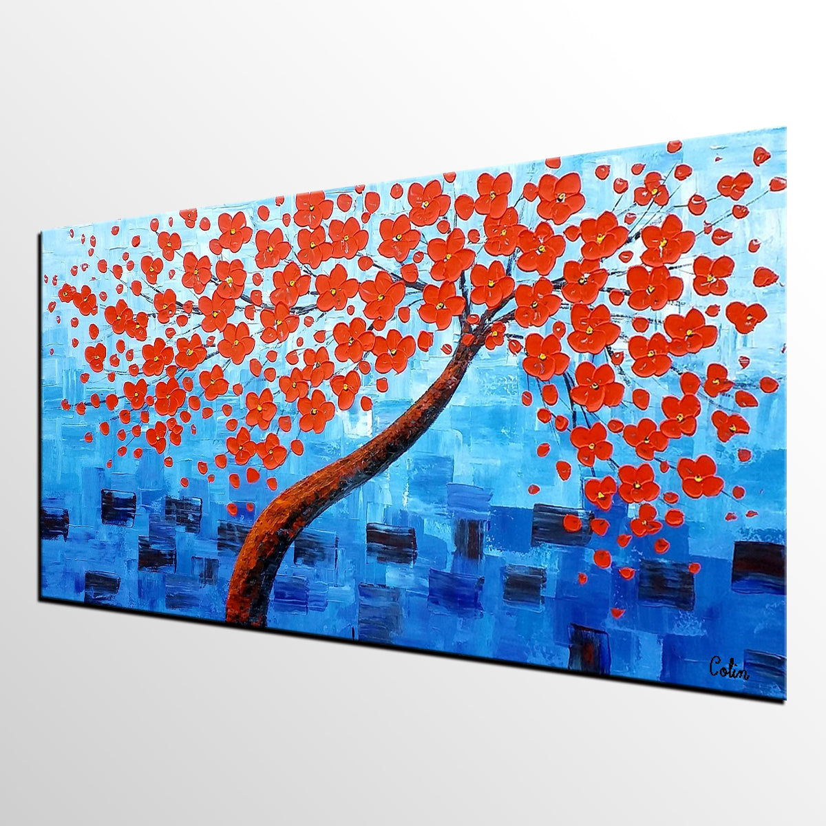 Acrylic Painting, Abstract Painting, Tree Painting, Flower Tree, Large Art, Canvas Art, Wall Art, Canvas Painting, Impasto Art