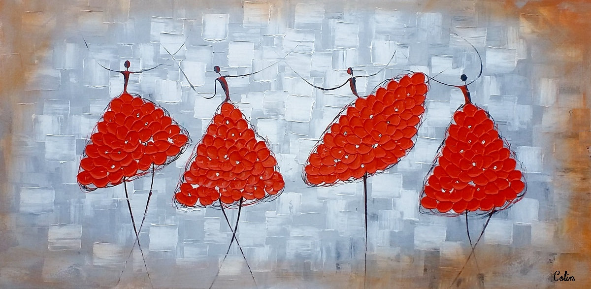 Dining Room Wall Art, Canvas Art, Wall Art, Canvas Painting, Impasto Art, Abstract Art, Abstract Painting, Ballet Dancer Painting