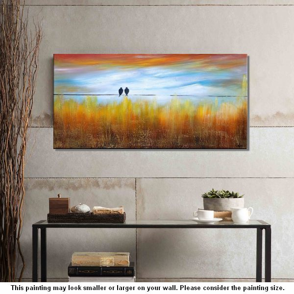 Wedding Gift, Abstract Art, Love Birds Pain...