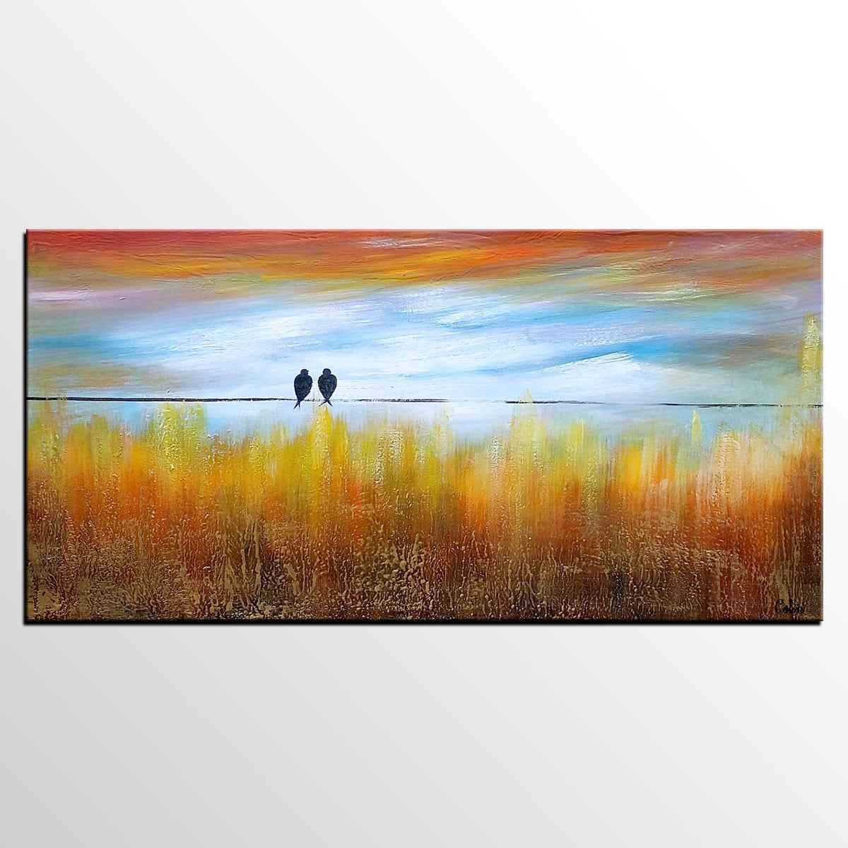 Wedding Gift, Abstract Art, Love Birds Painting, Art Painting, Abstract Painting, Large Art, Canvas Art, Wall Art, Canvas Painting