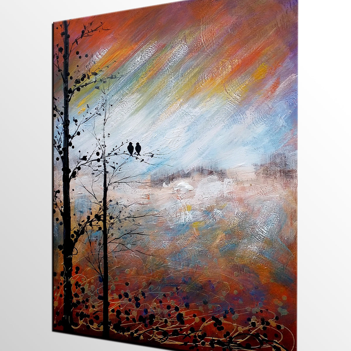 Love Birds Painting, Abstract Art, Landscape Painting, Abstract Painting, Large Art, Canvas Art, Wall Art, Canvas Painting, Bedroom Wall Decor