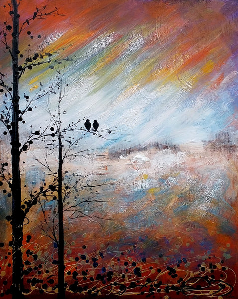 Love Birds Painting, Abstract Art, Landscape Painting, Abstract Painting, Large Art, Canvas Art, Wall Art, Canvas Painting, Bedroom Wall Decor - artworkcanvas