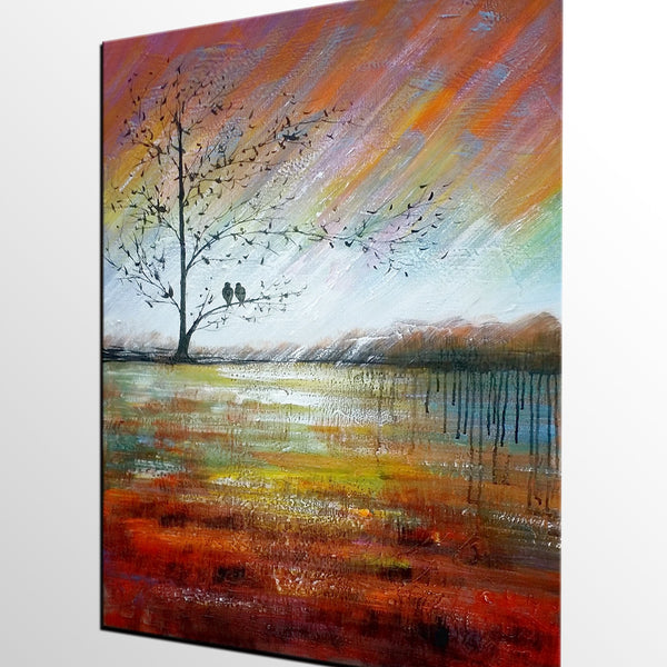 Modern Art, Abstract Landscape Painting, Love Birds Painting, Abstract Painting, Large Art, Canvas Art, Wall Art, Canvas Painting