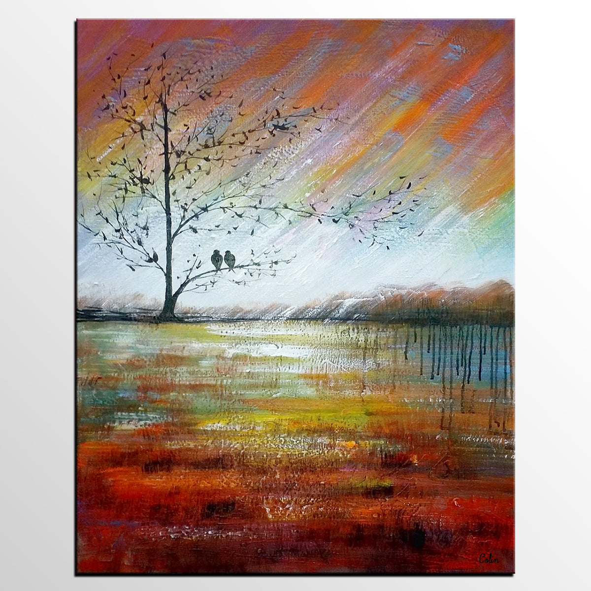 Modern Art, Abstract Landscape Painting, Love Birds Painting, Abstract Painting, Large Art, Canvas Art, Wall Art, Canvas Painting - artworkcanvas