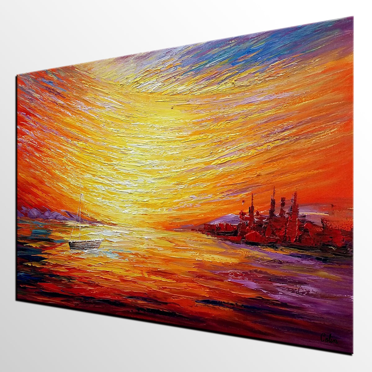 Sail Boat at Sea, Sunrise Painting, Oil Painting, Wall Art, Canvas Painting, Impasto Art