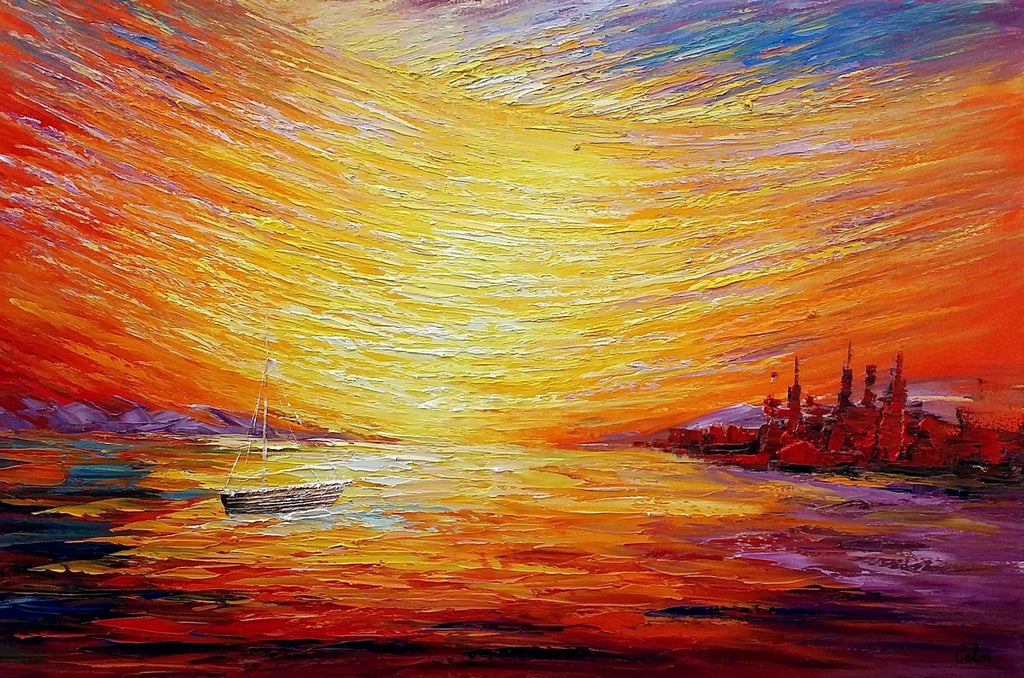 Sail Boat at Sea, Sunrise Painting, Oil Painting, Wall Art, Canvas ...