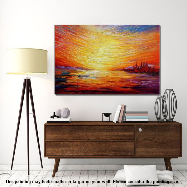 Nice Sail Boat At Sea, Sunrise Painting, Oil Painting, Wall Art, Canvas Painting  ...