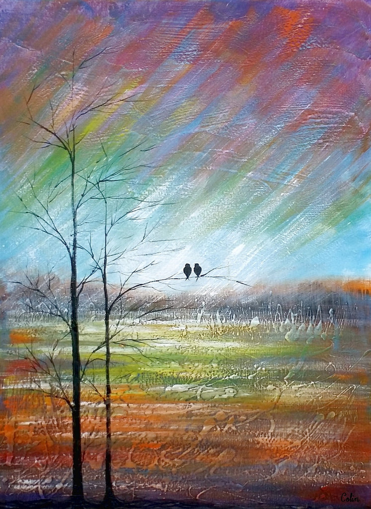 large art canvas painting abstract art for sale love birds art