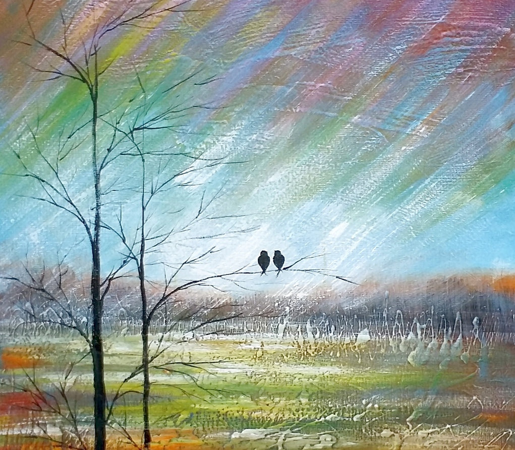 Large Art, Canvas Painting, Abstract Art for Sale, Love Birds Art