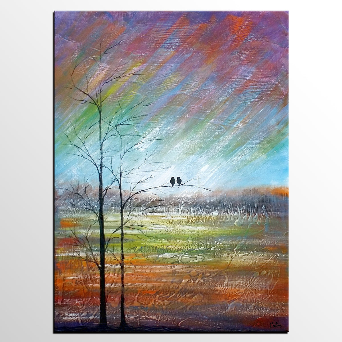 Large Art, Canvas Painting, Abstract Art for Sale, Love Birds Art-artworkcanvas