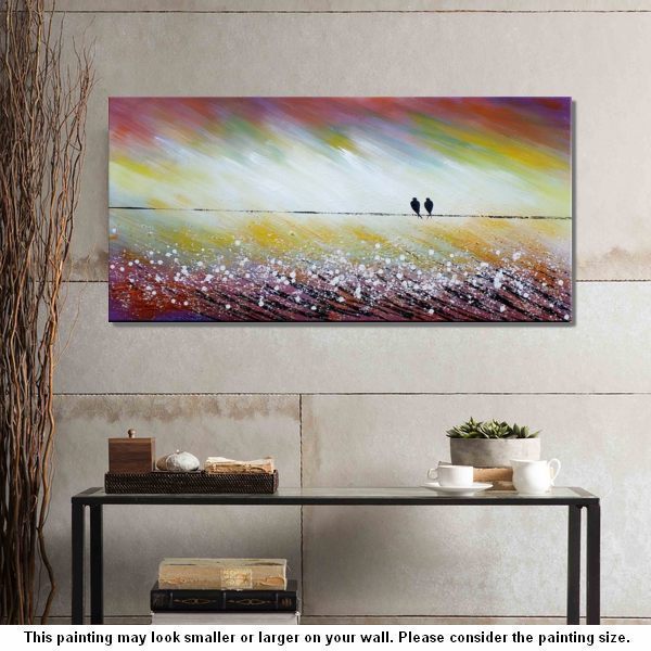 Living Room Wall Art, Abstract Art, Love Birds Painting, Acrylic Painting, Abstract Painting, Large Art, Canvas Art, Canvas Painting