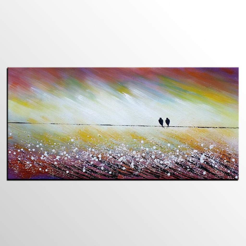 ... Living Room Wall Art, Abstract Art, Love Birds Painting, Acrylic  Painting, Abstract ...