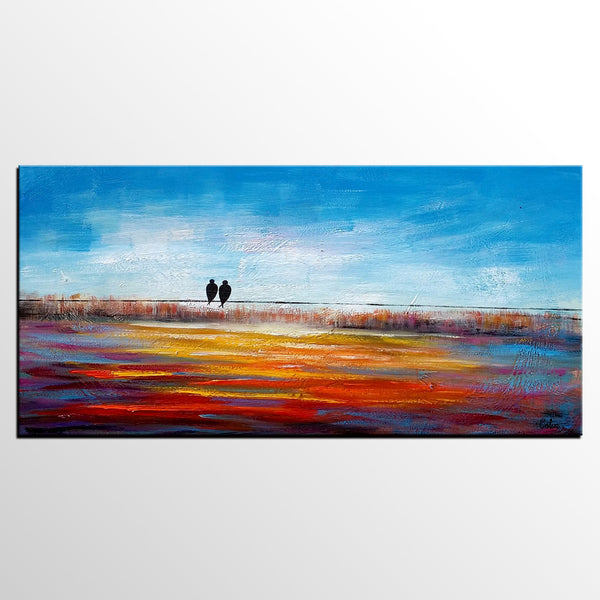 Original Art, Love Birds Painting, Dining Room Wall Art, Abstract Art, Abstract Painting, Large Art, Canvas Art, Oil Painting for Sale