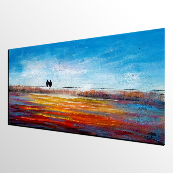 Original Art, Love Birds Painting, Dining Room Wall Art, Abstract Art, Abstract Painting, Large Art, Canvas Art, Oil Painting for Sale - artworkcanvas