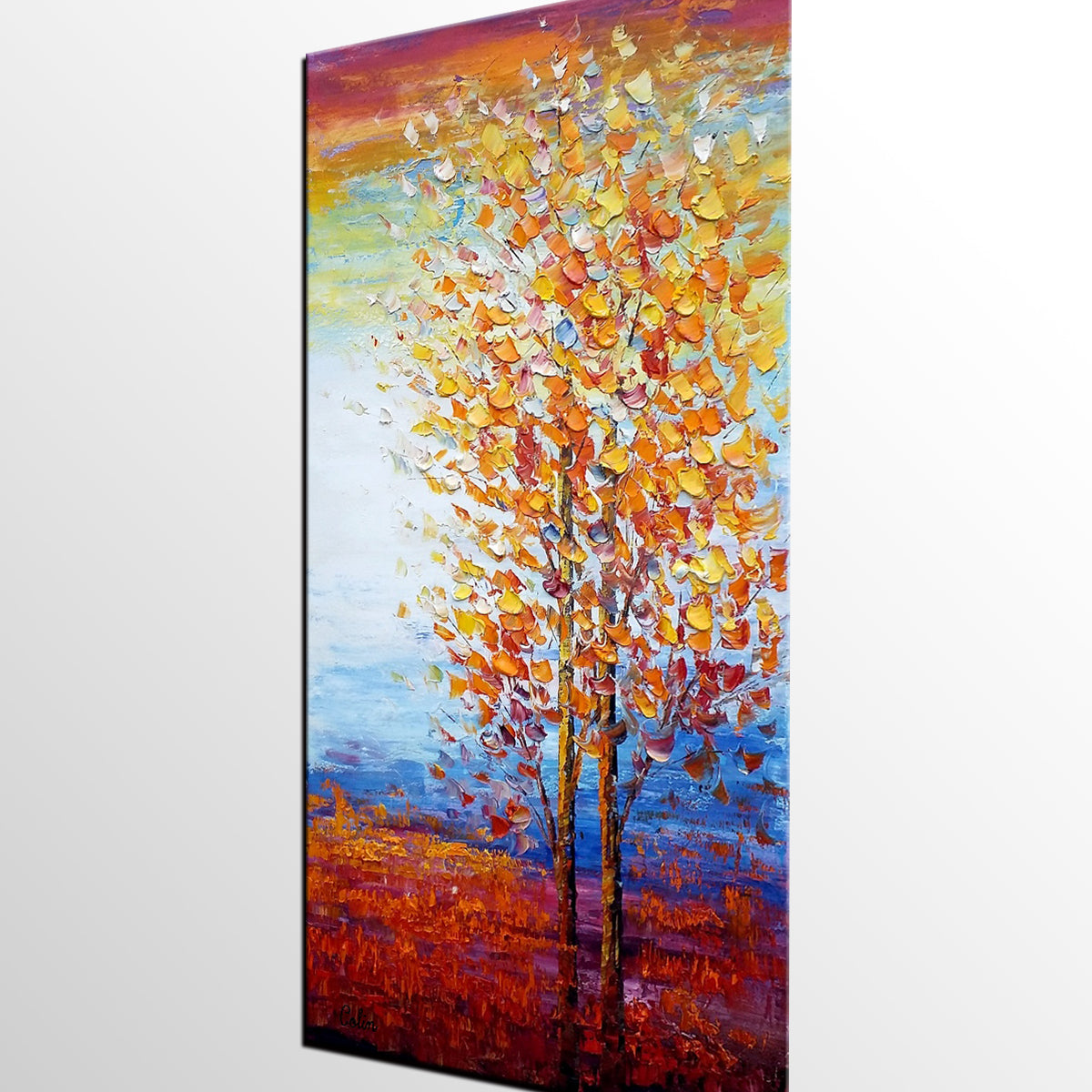 Living Room Wall Decor, Landscape Painting, Tree Painting, Large Wall Art, Canvas Art, Wall Art, Canvas Painting, Heavy Texture Art
