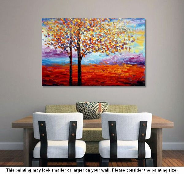 Landscape Painting, Tree Oil Painting, Canvas Art, Wall Art