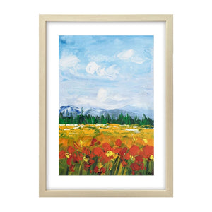 Small Painting, Heavy Texture Oil Painting, Red Poppy Field Painting, Abstract Painting - artworkcanvas