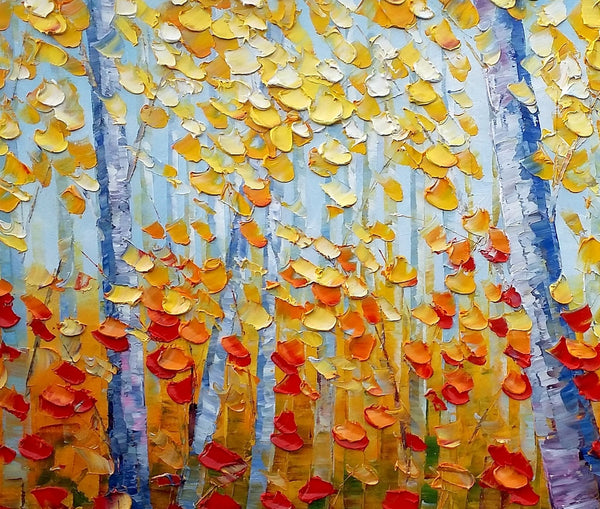Heavy Texture Landscape Painting, Abstract Autumn Painting, Abstract Impasto Painting, Rustic Painting - artworkcanvas