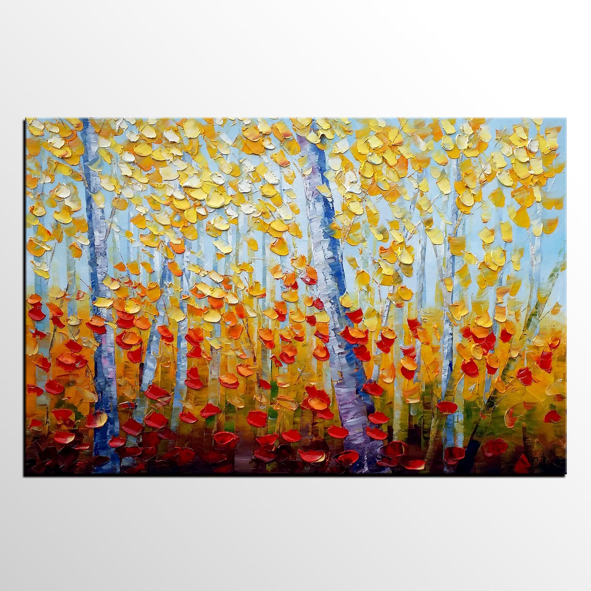 Heavy Texture Landscape Painting, Abstract Autumn Painting, Abstract Impasto Painting, Rustic Painting