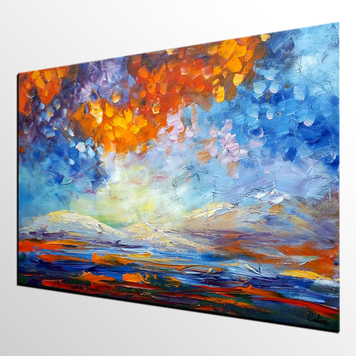 Bedroom Abstract Art, Abstract Landscape Painting, Oil Painting, Impasto Art