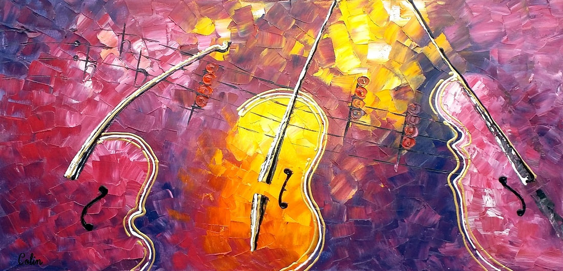 Canvas Painting, Violin Painting, Oil Painting, Abstract Painting,Art Painting, Impasto Art
