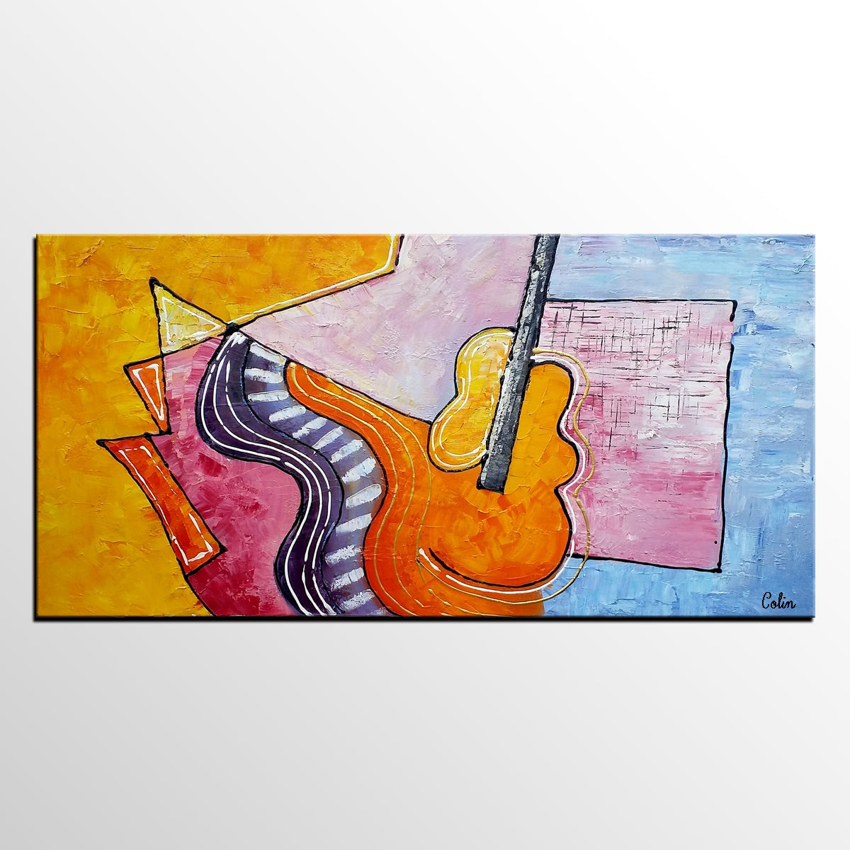 Violin Painting, Abstract Art, Canvas Paint...