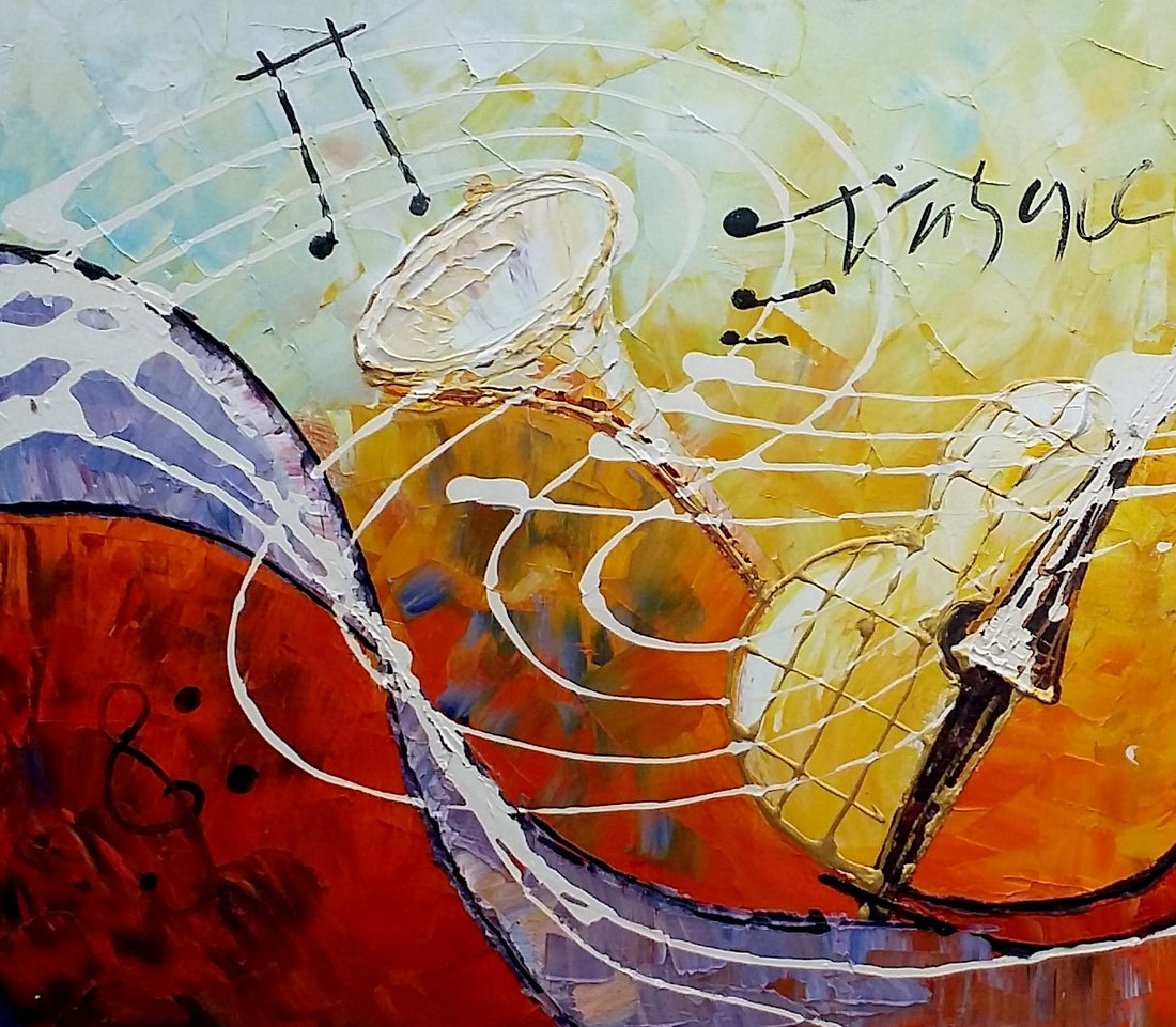 Violin Painting, Abstract Painting, Canvas Painting, Bedroom Wall Art, Art Painting