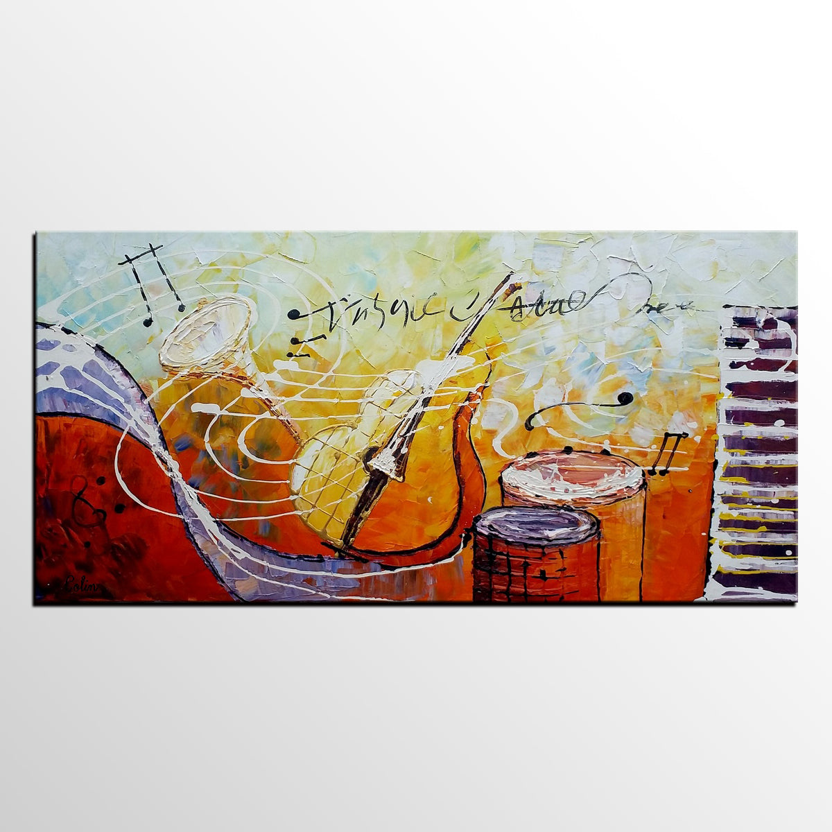Violin Painting, Abstract Painting, Canvas Painting, Bedroom Wall Art, Art Painting - artworkcanvas