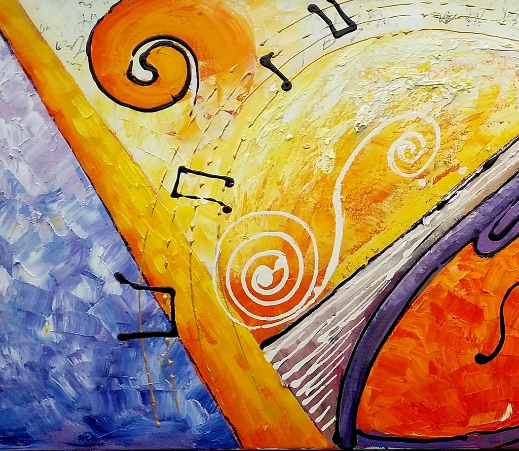 Large Painting, Bedroom Wall Art, Violin Music Painting, Abstract ...