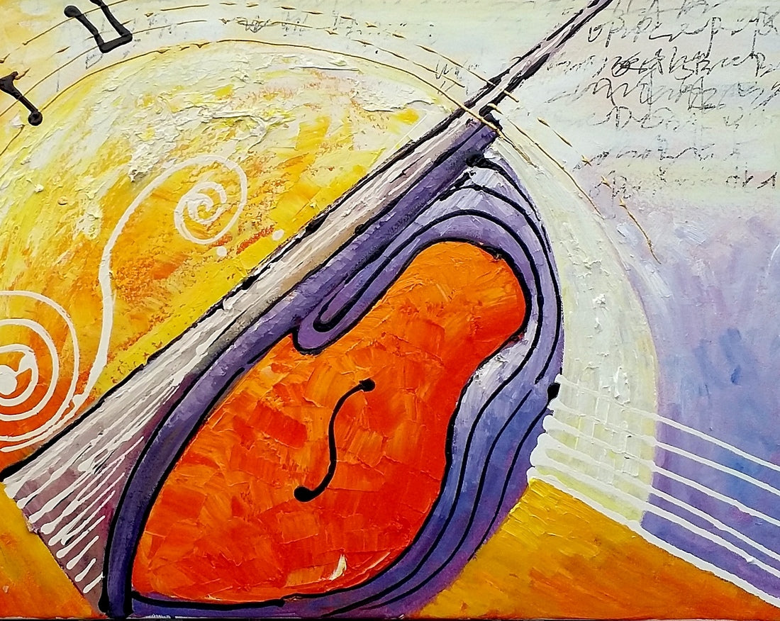 Large Painting, Bedroom Wall Art, Violin Music Painting, Abstract Art, Canvas Art, Original Painting, Abstract Painting, Modern Art
