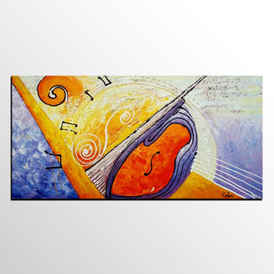 Large Painting, Bedroom Wall Art, Violin Music Painting, Abstract Art, Canvas Art, Original Painting, Abstract Painting, Modern Art - artworkcanvas