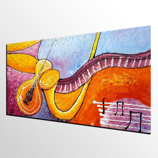 Modern Art, Canvas Painting, Large Painting, Bedroom Wall Art, Violin Music Painting, Abstract Art, Canvas Art, Original Painting, Abstract Painting