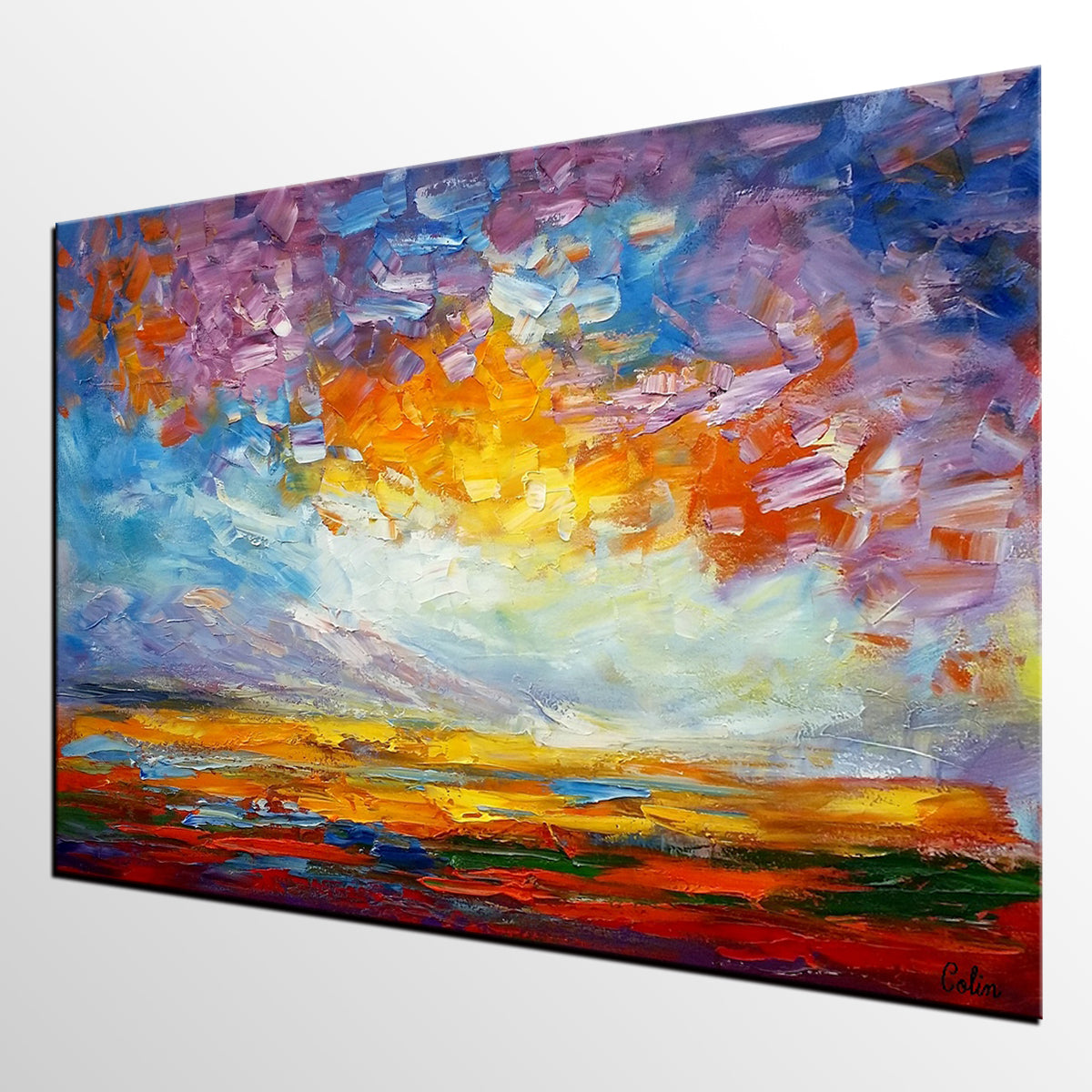 Large Landscape Painting, Original Oil Painting, Abstract Painting, Large Wall Art, Canvas Art, Living Room Wall Art, Canvas Painting, Impasto Art