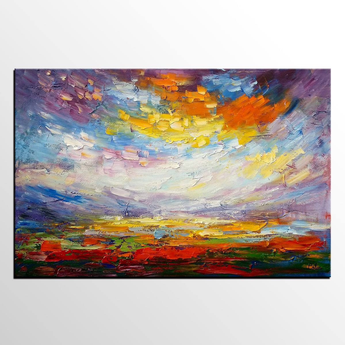 Landscape Painting, Abstract Oil Painting, Canvas Art, Wall Art, Canvas Painting