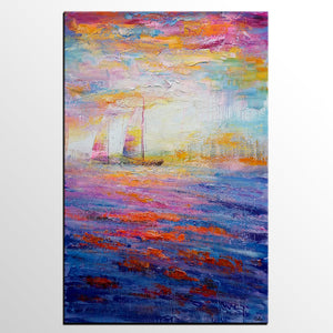 Large Painting, Canvas Painting, Sail Boat Painting, Large Art, Canvas Art, Wall Art, Abstract Art, Abstract Painting, Landscape Painting - artworkcanvas