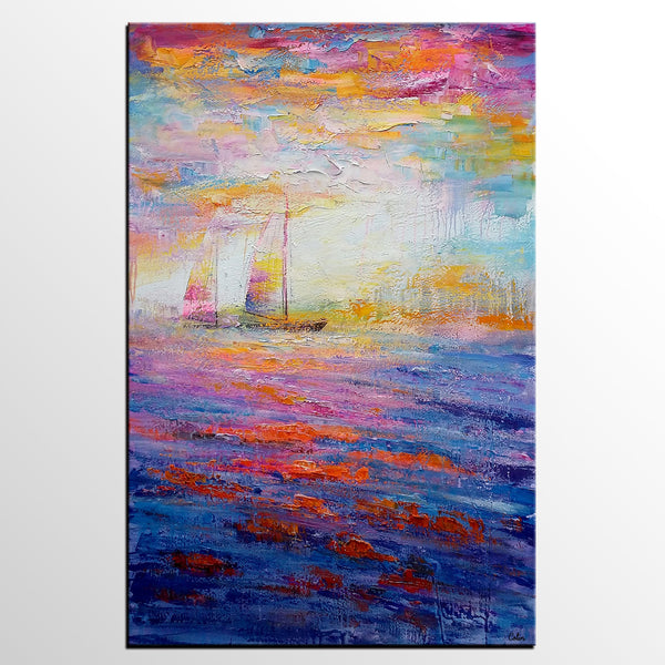 Large Painting, Canvas Painting, Sail Boat Painting, Large Art, Canvas Art, Wall Art, Abstract Art, Abstract Painting, Landscape Painting