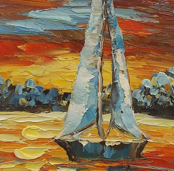 Heavy Texture Oil Painting, Sail Boat Painting, Canvas Painting, Small Painting - artworkcanvas