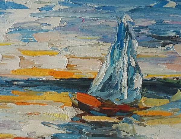 Sail Boat Painting, Canvas Painting, Heavy Texture Oil Painting, Small Painting