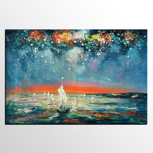 Impasto Art, Heavy Texture Painting, Starry Night Sky, Abstract Landscape Painting, Palette Knife Art, Custom Artwork - artworkcanvas